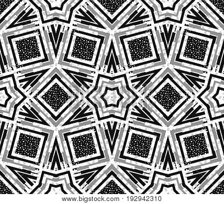 Seamless illustration. Retro design. Memphis backdrop. Avant-garde wallpaper. Vintage art. Black and white print. Hipster ornament. Monochrome  pattern. Geometry graphic. Vector.