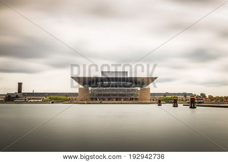 Copenhagen Denmark - August 12 2016: Opera House building in Copenhagen. Long exposure shot.