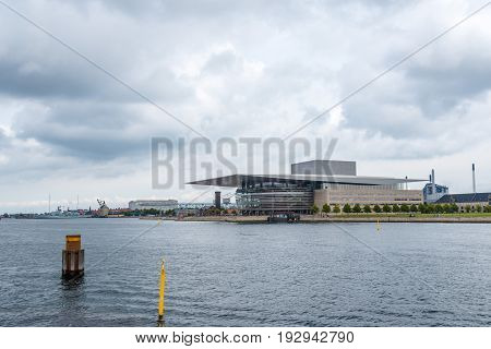 Copenhagen Denmark - August 12 2016: Opera House building in Copenhagen. Cloudy day of summer