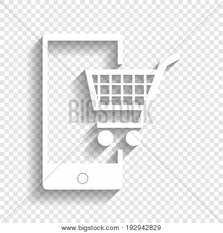 Shopping on smart phone sign. Vector. White icon with soft shadow on transparent background.
