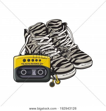 Pair of zebra sneakers and audio player from 90s, retro fashion icons, sketch vector illustration isolated on white background. Retro style sneakers and audio player