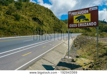 QUITO, ECUADOR - AUGUST 8, 2014: Informative sign to aware the crossing of bears in Papallacta, in a beautiful landscape of mountains in a sunny day with the road in Quito Ecuador.