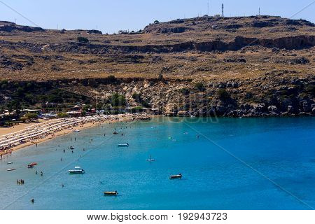 View Of Lindos Bay, Rhodes.
