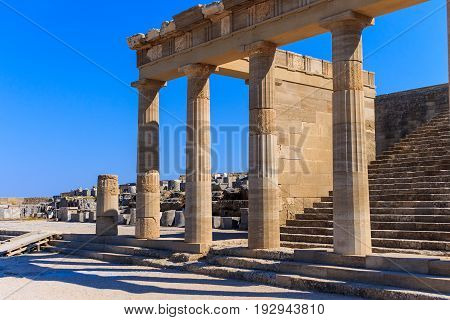 Acropolis In Lindos And Vliha Bay. Rhodes.