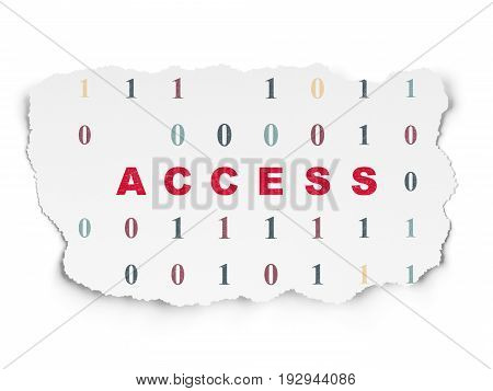 Safety concept: Painted red text Access on Torn Paper background with  Binary Code