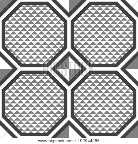 Abstract seamless pattern of triangles and hexagons. Lattice shape. Floor texture.