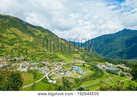 Beautiful landscape of Papallacta mountain in a sunny day in Quito Ecuador.
