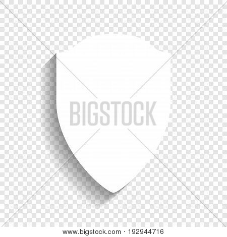 Shield sign illustration. Vector. White icon with soft shadow on transparent background.