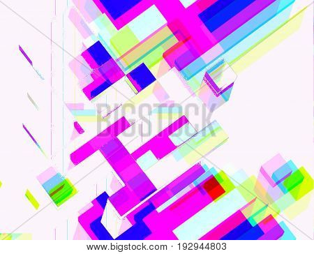 Geometric  multi-color background in the style of glitch art.