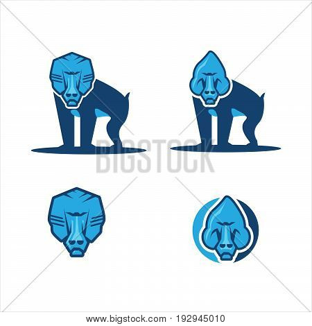 Collection of vector monkey baboon, close up face, logo icon with blue color