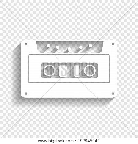 Cassette icon, audio tape sign. Vector. White icon with soft shadow on transparent background.