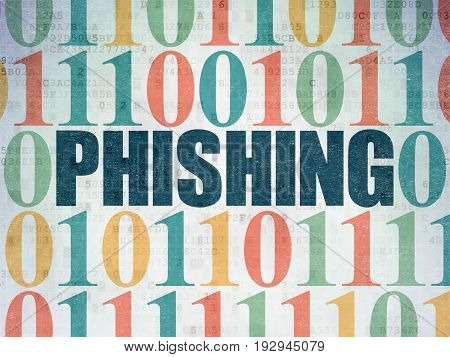 Safety concept: Painted blue text Phishing on Digital Data Paper background with Binary Code