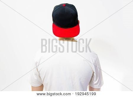 The Man, Guy In The Blank Black, Red Baseball Cap, On A White Background With White T Shirt, Mock Up