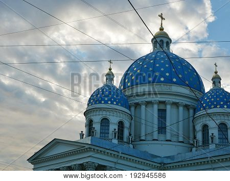 Trinity Cathedral (Troitsky sobor) - russian orthodox cathedral in St. Petersburg Russia. View of 3 domes with crosses