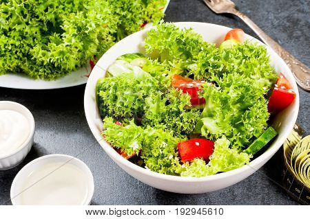 Bowl With Vegetable Salad On Dark Stone Table With Centimeter, Diet Concept