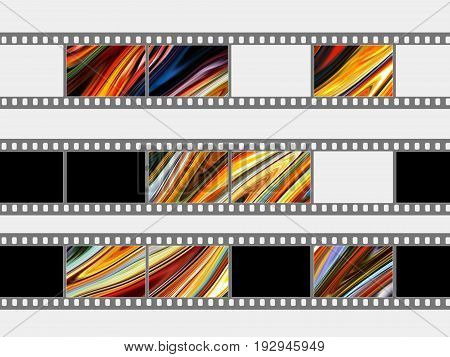 The photographic film strips on a white background