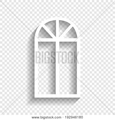 Window simple sign. Vector. White icon with soft shadow on transparent background.