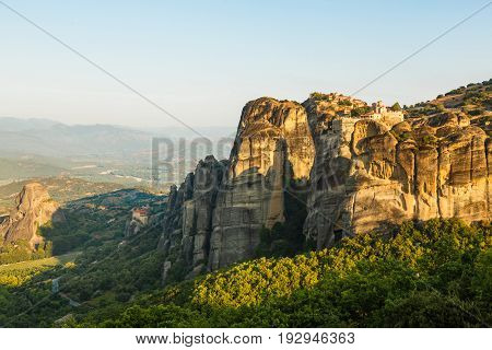 Morning landscape of meteora with monasteries on top of the mountain, Kalambaka, Greece