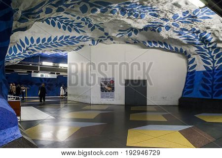 STOCKHOLM, SWEDEN - JUNE 27, 2016: This is interior of the T-Centralen subway station.