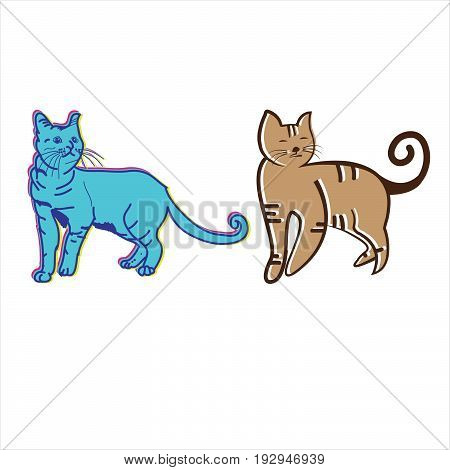 Vector of two cute blue and brown cats, screen printing t-shirts