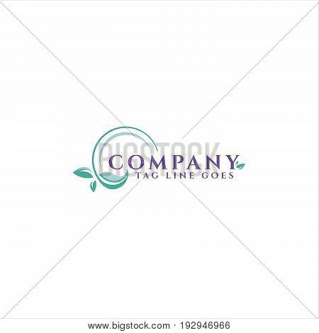company vector logo concept illustration. Ecology logo. Leafs logo. Bio logo. Nature logo. Agriculture logo. circle leaves. Vector logo template. Design element.
