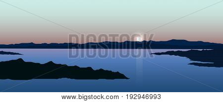 Vector illustration of sunset landscape with lake and rocks