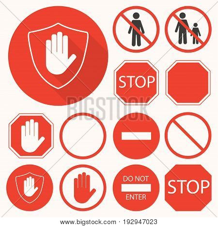 Stop Signs Collection. Stop Hand, Octagon, Circle, Shield Signs For Prohibited Activities