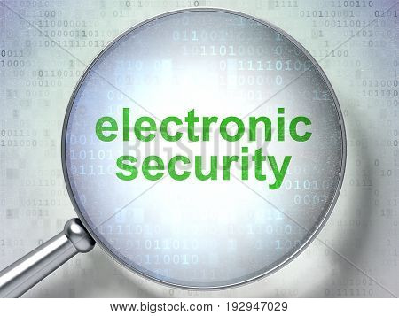 Privacy concept: magnifying optical glass with words Electronic Security on digital background, 3D rendering