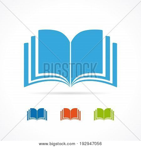 Color open book icon. Colored vector book icons flat design set isolated on white background