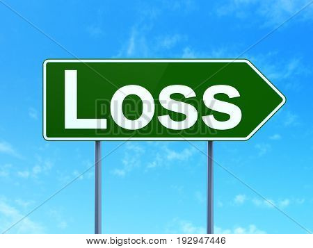 Business concept: Loss on green road highway sign, clear blue sky background, 3D rendering