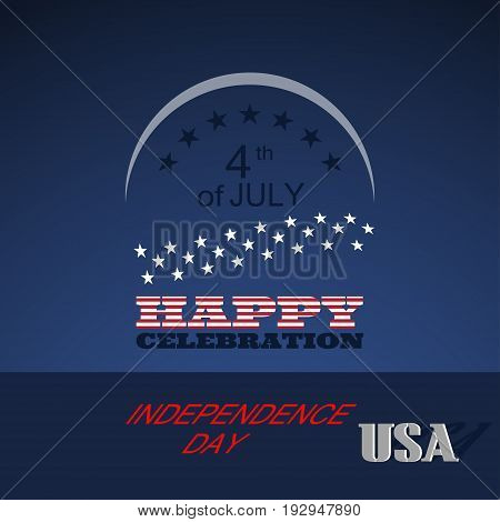 Vector poster of Independence Day with color text label on the dark blue background.