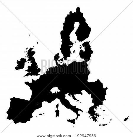 European Union territory black silhouette isolated on white background. Map of EU. Vector illustration.