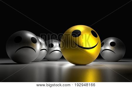 Yellow Ball With Happy Face Among So Many Silver Sadness Balls.