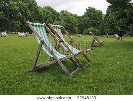 Deckchairs In A Park