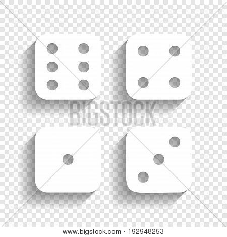 Devils bones, Ivories sign. Vector. White icon with soft shadow on transparent background.