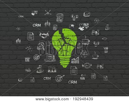 Finance concept: Painted green Light Bulb icon on Black Brick wall background with  Hand Drawn Business Icons