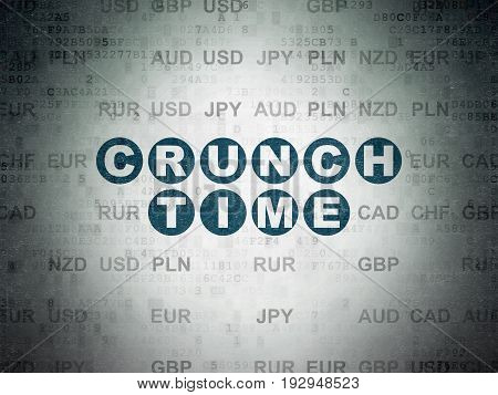 Finance concept: Painted blue text Crunch Time on Digital Data Paper background with Currency