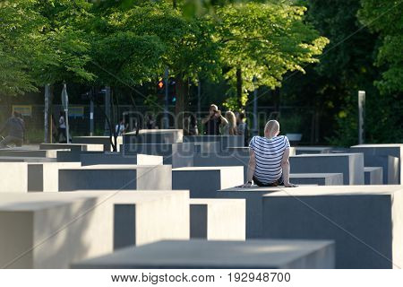 25th of June 2017 Berlin Germany: At the Memorial to the Murdered Jews of Europe. Tourists are visiting the site.