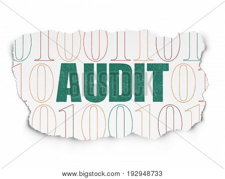Finance concept: Painted green text Audit on Torn Paper background with  Binary Code