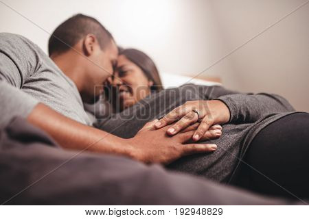 Romantic Pregnant Couple Waiting For A Child