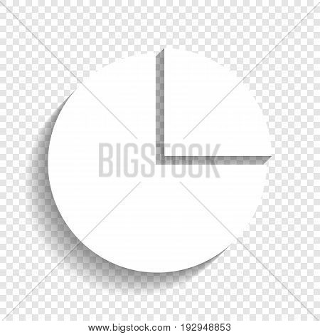 Business graph sign. Vector. White icon with soft shadow on transparent background.