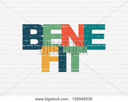 Business concept: Painted multicolor text Benefit on White Brick wall background