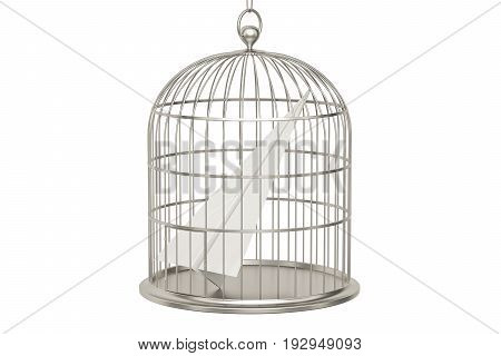 Bird cage with paper plane 3D rendering isolated on white background