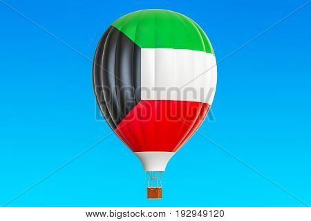 Hot air balloon with Kuwait flag 3D rendering