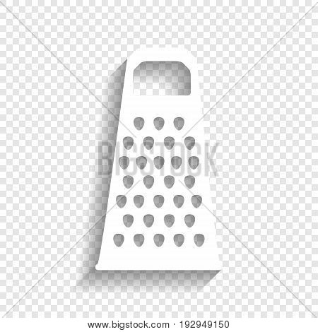 Cheese grater sign. Vector. White icon with soft shadow on transparent background.