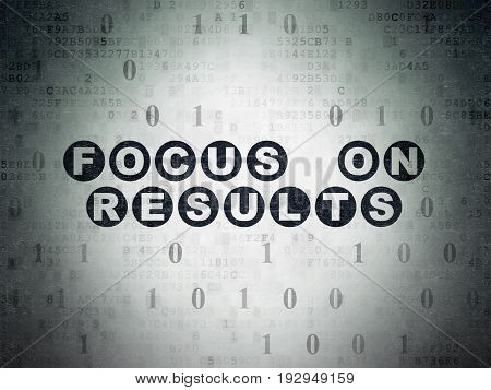 Business concept: Painted black text Focus on RESULTS on Digital Data Paper background with Binary Code