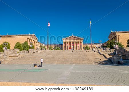PHILADELPHIA, USA - NOVEMBER 22, 2016: Museum of Art East entrance and North wing buildings and empty main plaza with Greek revival style facade.