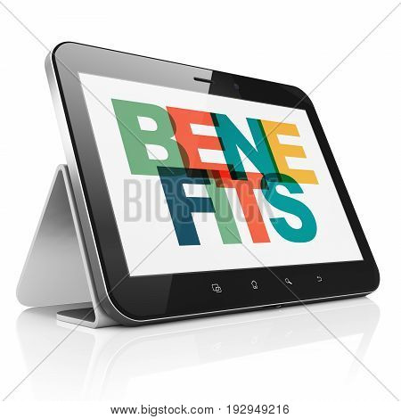 Finance concept: Tablet Computer with Painted multicolor text Benefits on display, 3D rendering