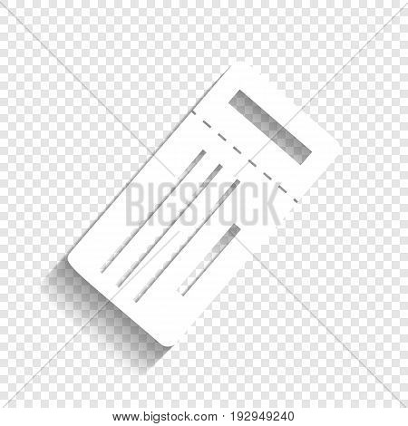 Ticket simple sign. Vector. White icon with soft shadow on transparent background.