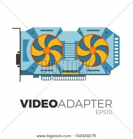 Vector illustration of video graphics card (video adapter). Flat, realistic design. Illustration of computer equipment for cryptocurrency (bitcoin) mining. Detailed and isolated on white background.